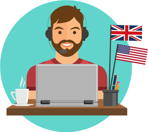 Man at desktop with two flags 2